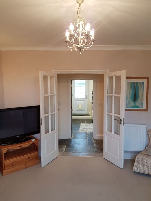 Looking out through to the galley kitchen & private entrance to the annexe.