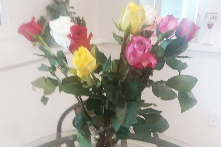 Vase of lovely roses...waiting to greet you!