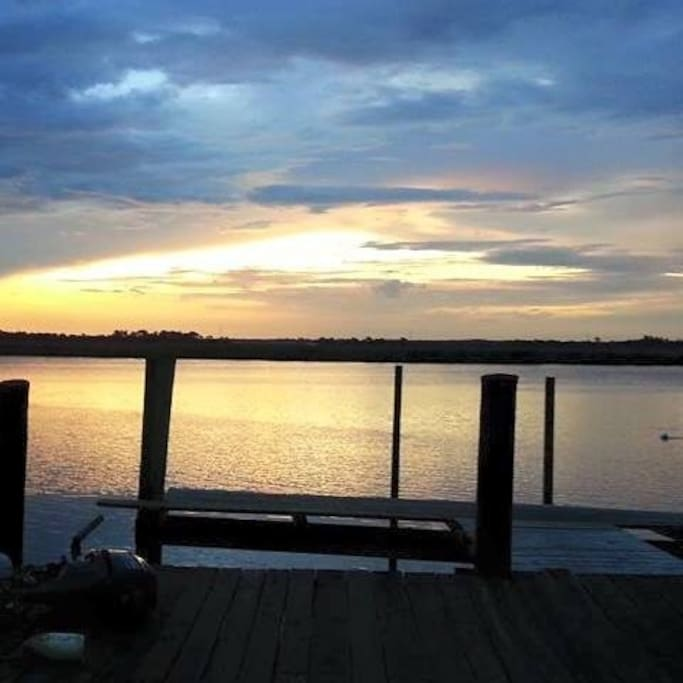 Sunsets every evening from the dock