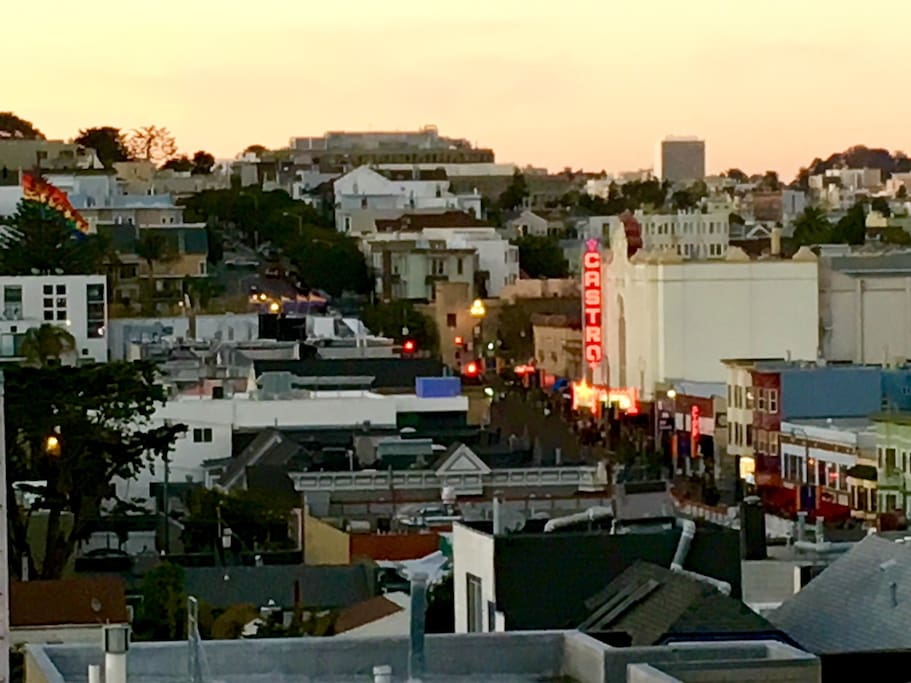 View from your balcony of the Castro. You're a 2 minute walk away. You're next to the action, but on a quiet street.