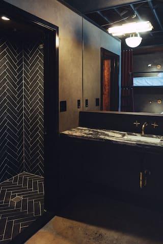 Shower, Vanity & Toilet in Room