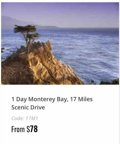 Happy to book your tour to Monterey, Fisherman's Wharf/Monterey Peninsula,17 Miles Scenic Drive, Carmel Township- Departure Daily at 9:00 AM