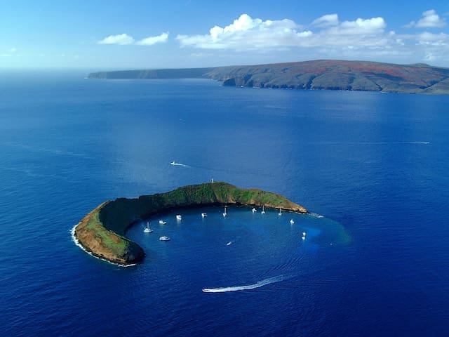 World-famous Molokini snorkeling crater is a fun boat ride away from port of Maalaea