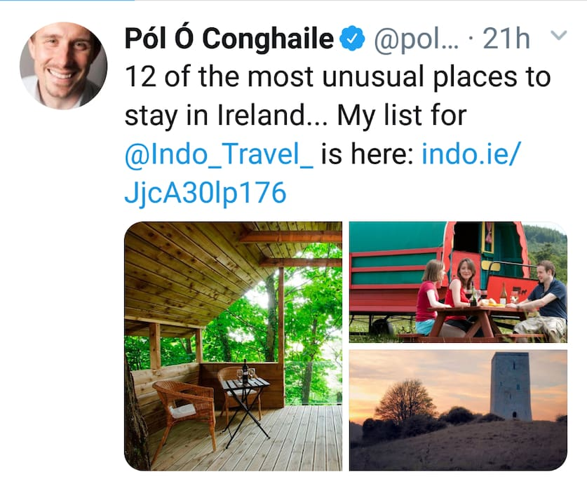delighted to feature in Pol's 12 Most Unusual Places to Stay in Ireland