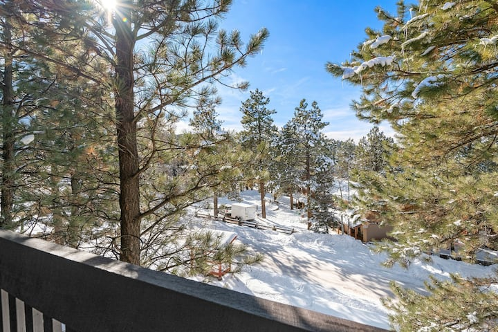 Rustic style condo w/ fireplace & forest views off balcony, close to ski lifts!
