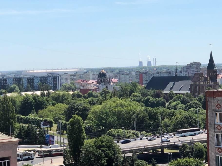 Вид на стадион из окна