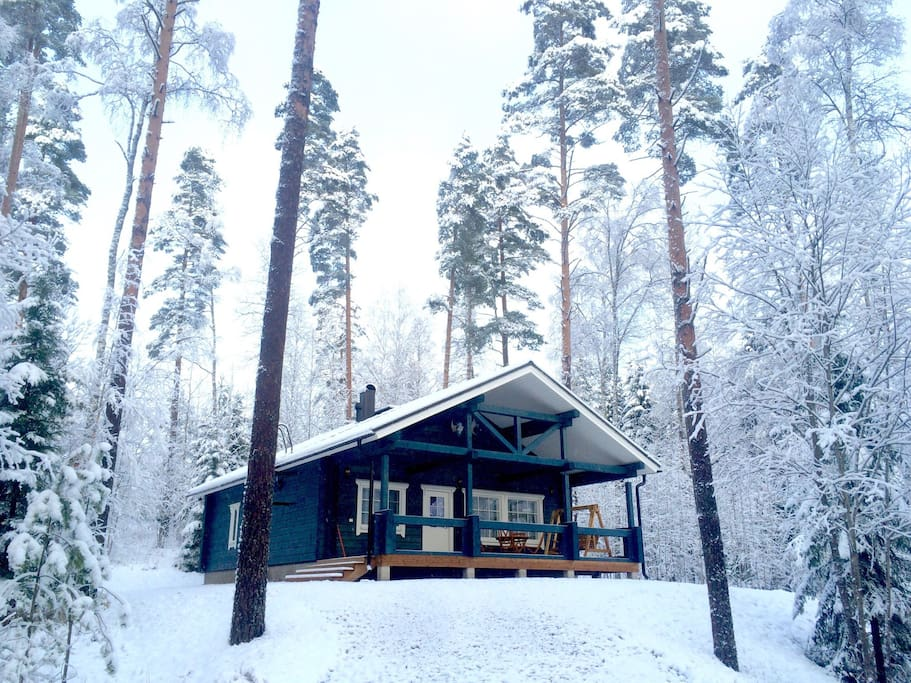 Winter view to the Hirvi cottage.