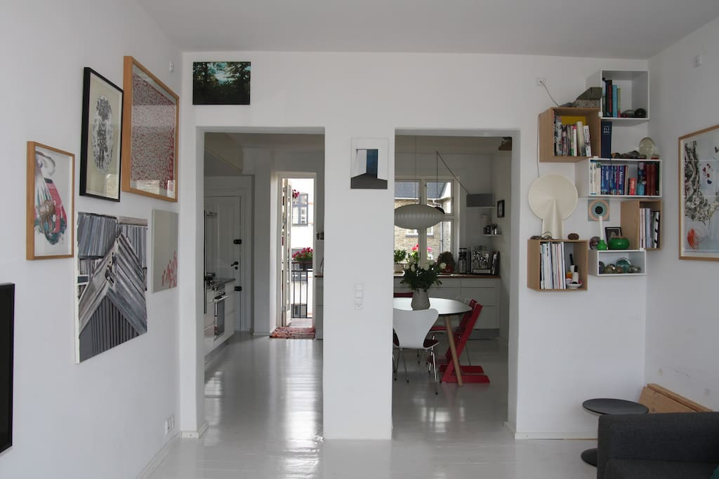 View from living room to kitchen.