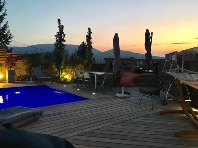 Couché de soleil sur la terrasse