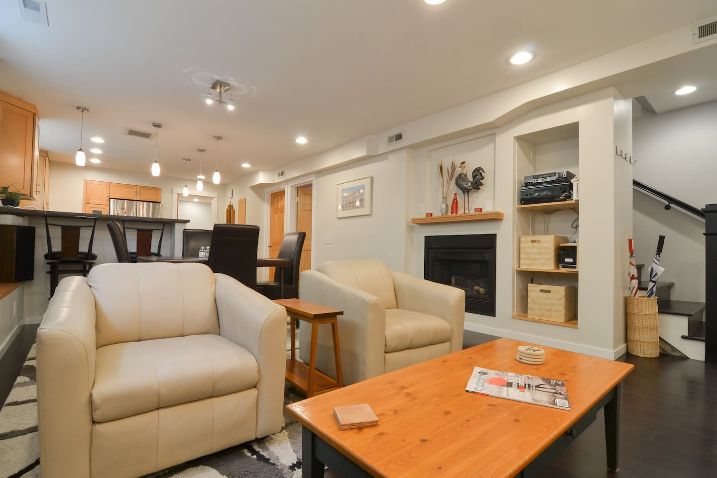 View of open concept living space from couch