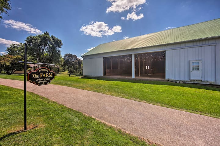 Situated on 90 acres, this home includes a large barn for suitable for events!