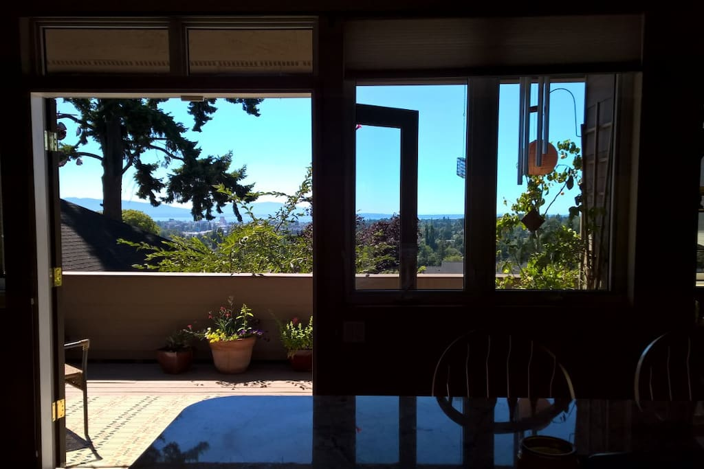 From the kitchen, looking out over back deck