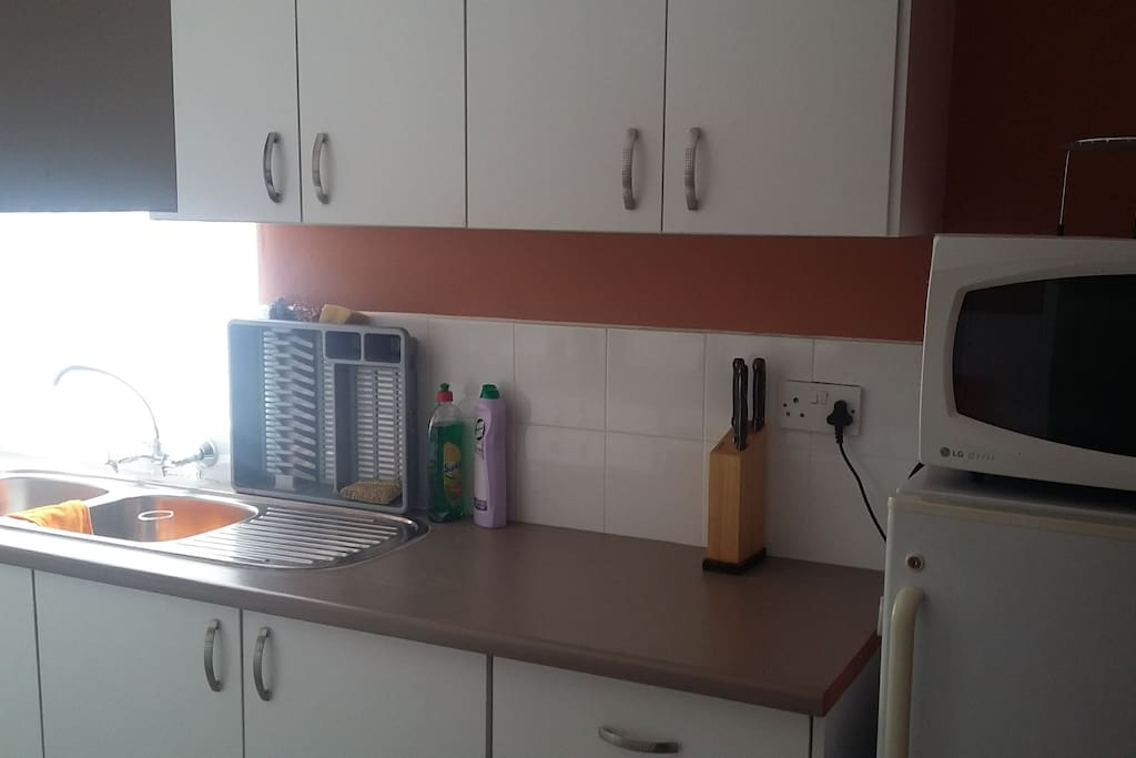 Kitchen with fridge, stove, microwave, kettle and utilities