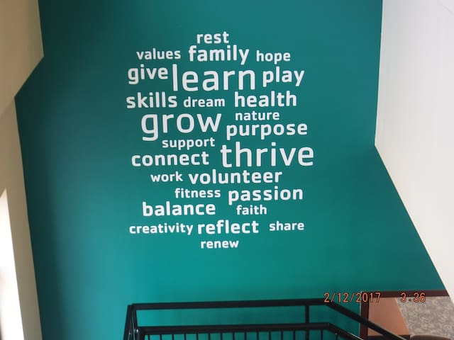 This is at the YMCA 1/4 mile down the street.  Values I resonate with....