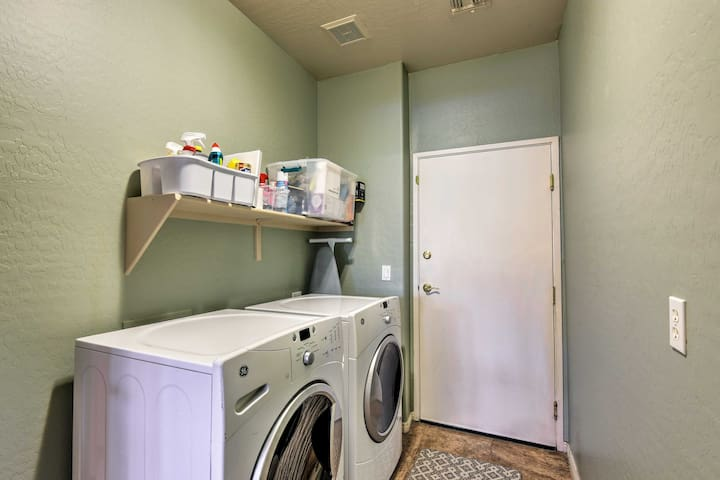 In-unit laundry machines allow you to stay fresh and pack light.