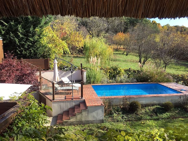 Pool view from the thatched balcony