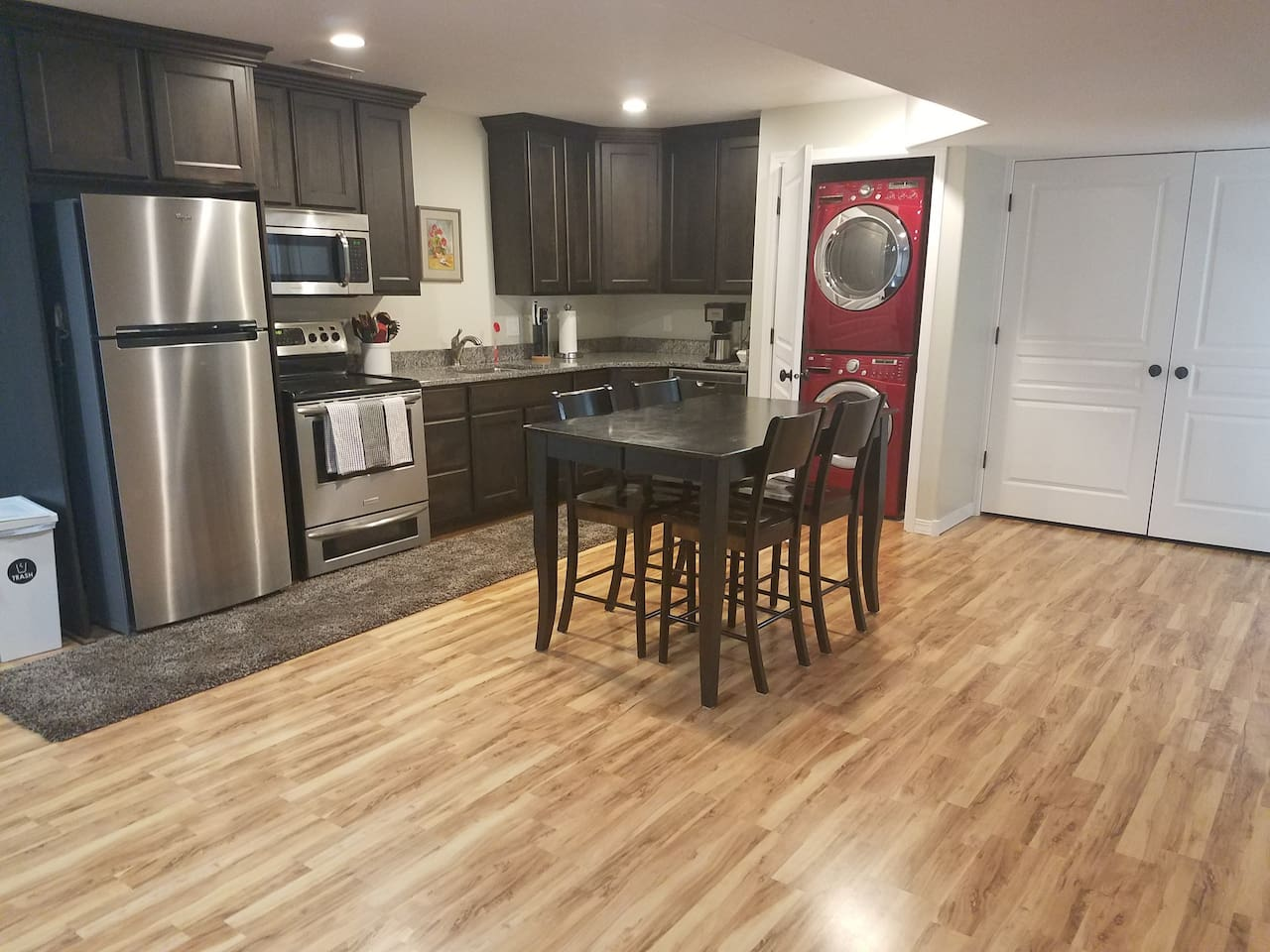 Spacious full kitchen and living area
