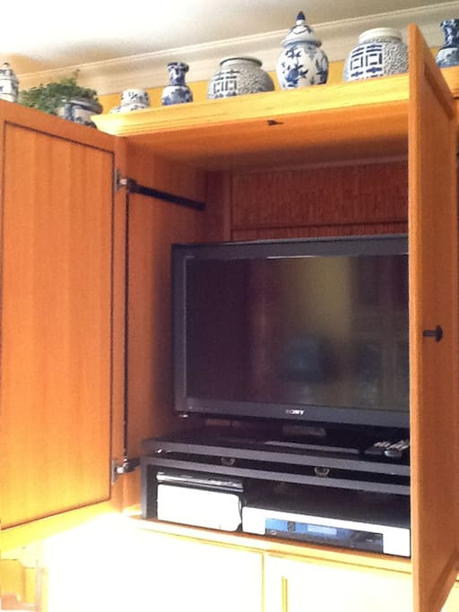 The cabinet across from the sofa bed contains a flat screen TV, equipped with Cable service and a DVD player.