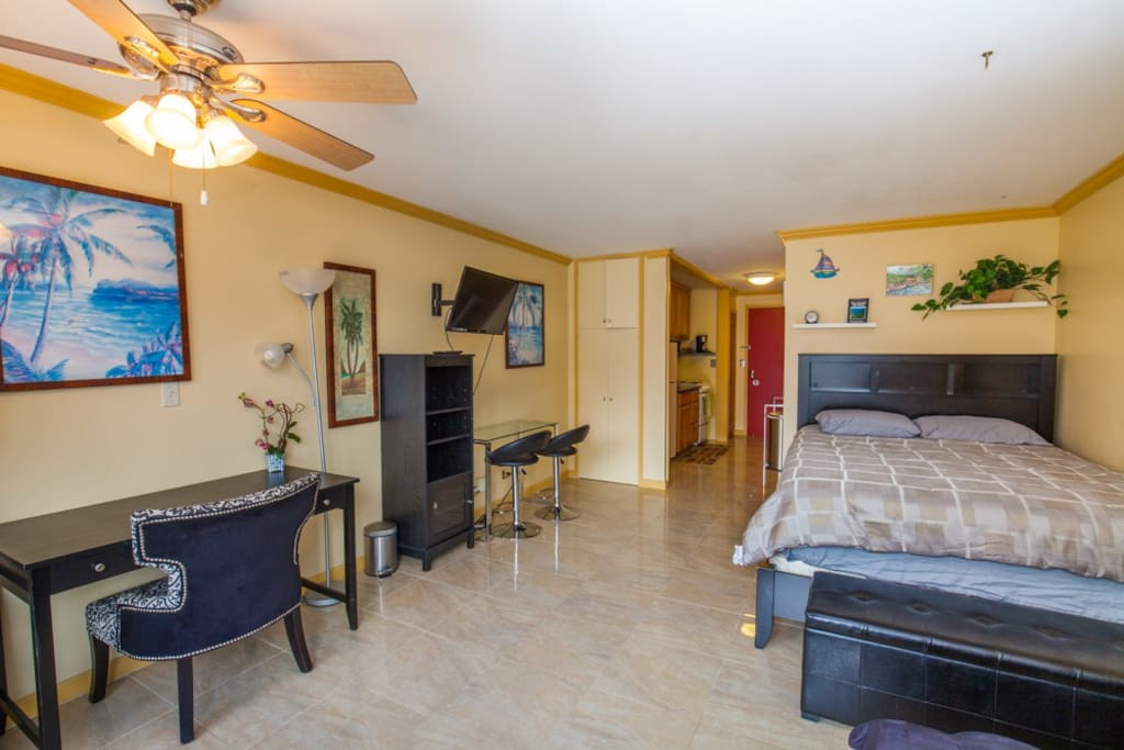 fully furnished with bed, tv, dining table, sofa and more. Also tile was recently renovated.