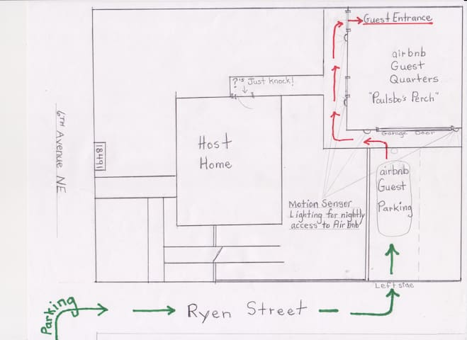Parking and access to Poulsbo's Perch is at the back of the property accessed on Ryen Street.