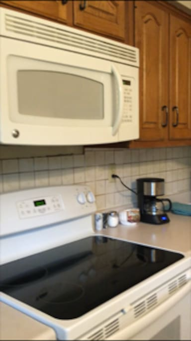 Microwave, blender and toaster in addition to all major appliances.