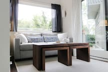 """Living area features West Elm """"Henry"""" full sized pull-out sofa bed."""