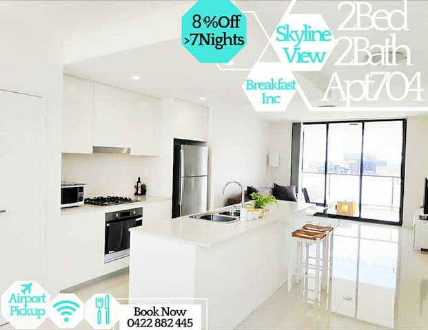 🔴Stylish 2Bed 2Bath Apt- Skyviews+ Breakfast Inc!