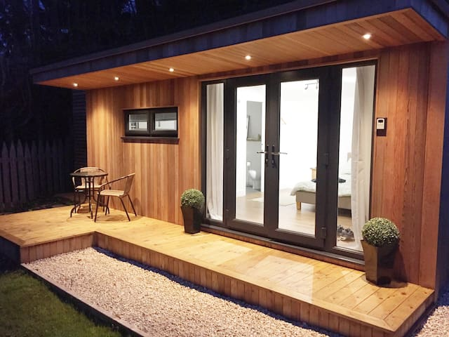 At night with decking lights