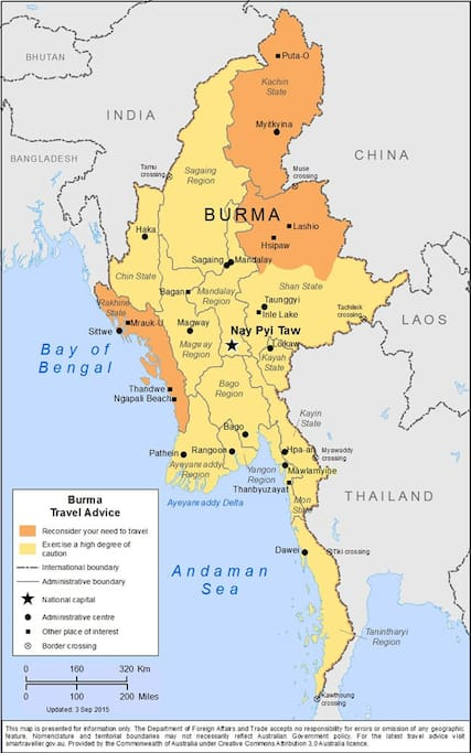 Dark areas are where not to go in Myanmar..
