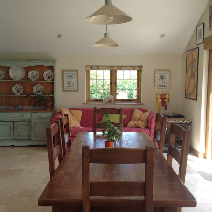 Kitchen table and comfy sofa