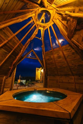 Hot Tub in the rustic TP made from home grown trees