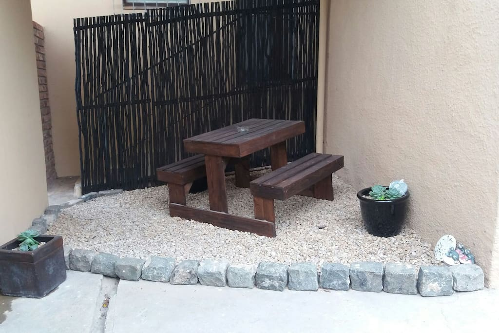 Private relaxing area outside unit