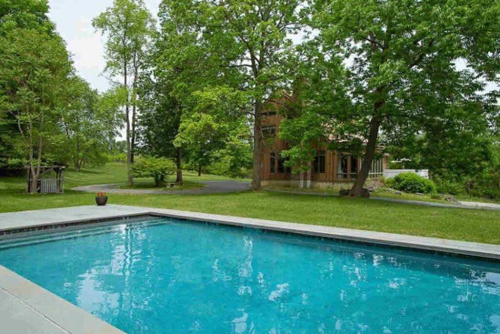 Heated gunite pool set away from the house