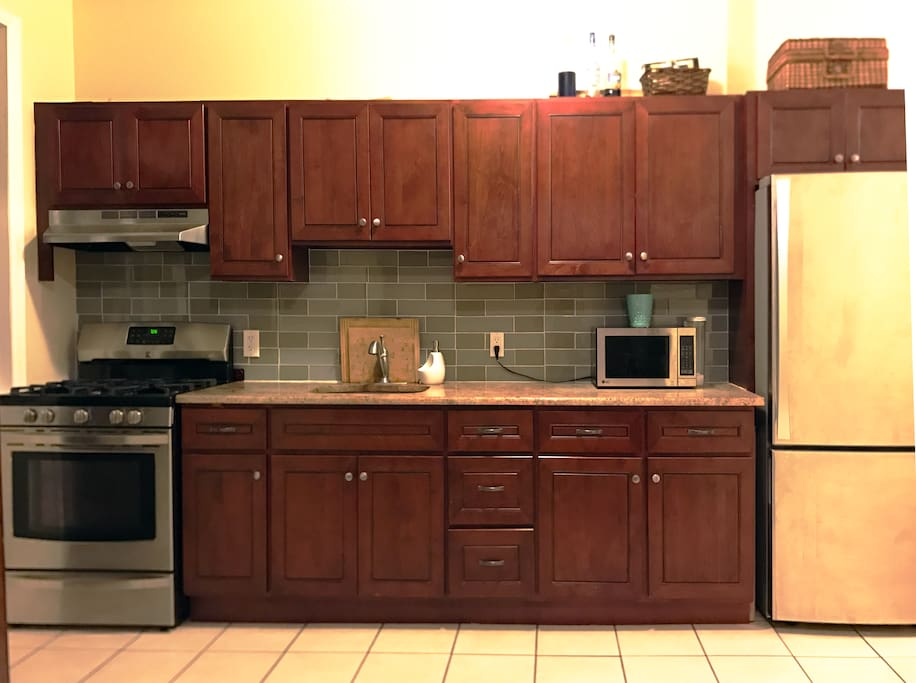 Comfortable sized kitchenette with state of the art appliances.