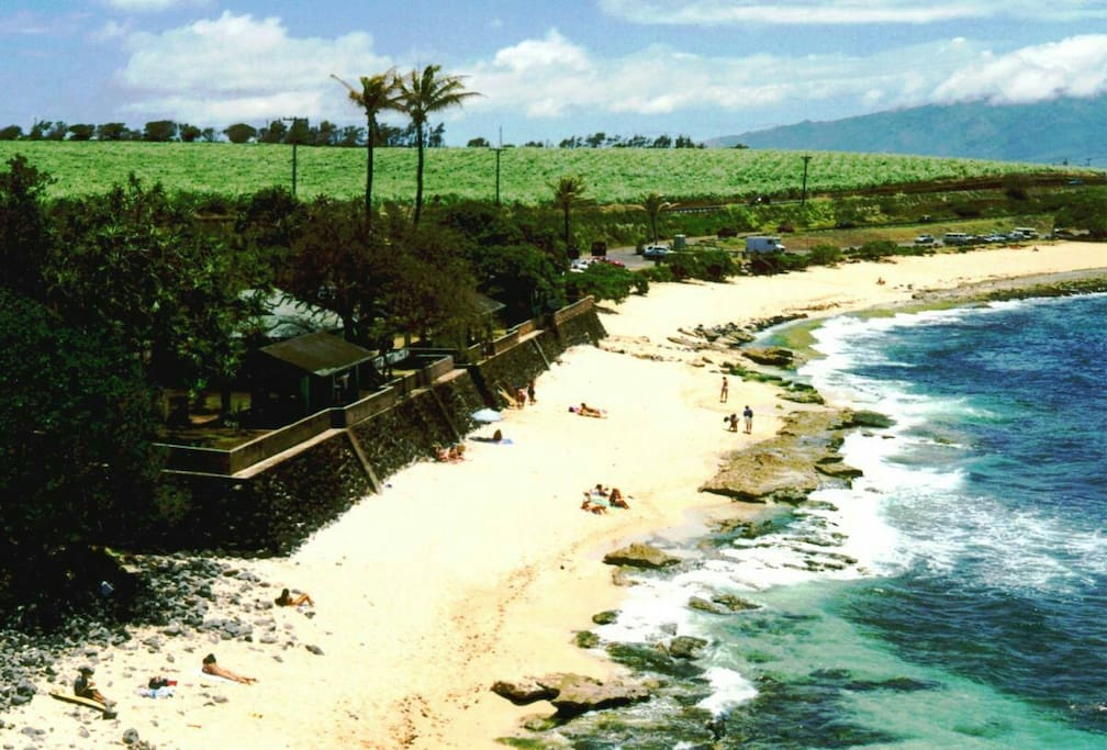Ho'okipa Beach, a 4 min. drive.  Great for swimming, snorkeling, encountering turtles, surfing and laying in the sun