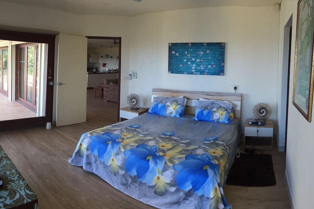 Master bedroom , king bed, air con, fan, Tv, walk in robe, ensuite and Magnificent ocean view