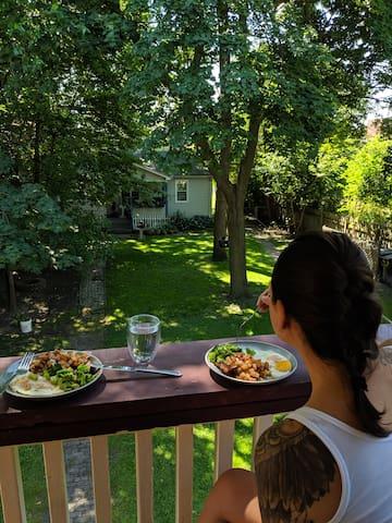 Enjoy breakfast on the balcony