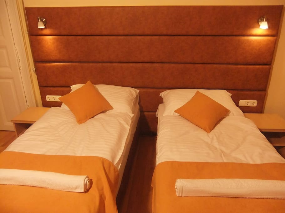 Comfortable single beds can easily be attached to one doublebed upon guest request.