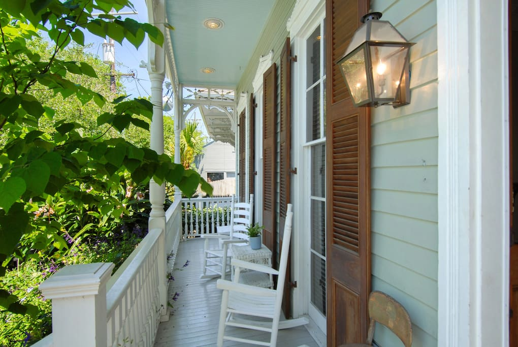 Front porch with lush gardens...