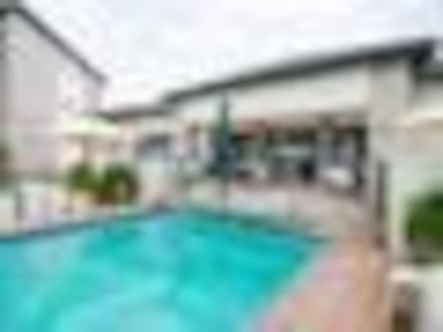 Restaurant looking onto swimming pool