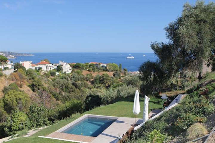Villa atypique, calme absolu, vue mer,  Nice
