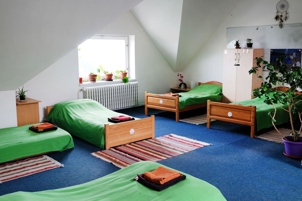 You will be sharing the attic with four more travellers from all around the world. One more double-bed is located in an adjacent room behind the curtain.