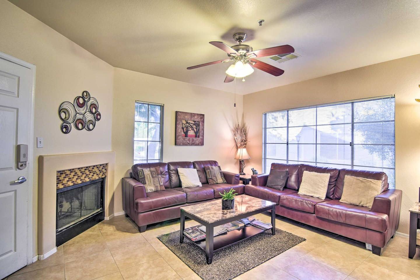 The home features 2 bedrooms, 2 bathrooms, a sleeper sofa, and room for 6.