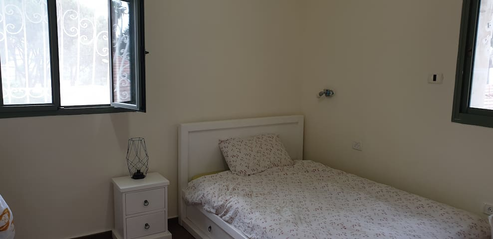 The bedroom in the 2nd floor. 120 CM width bed. Includes private shower and toilet