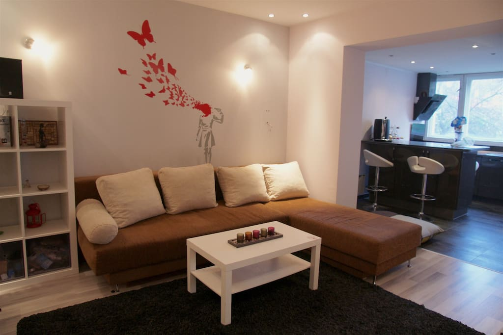 Living room with TV and a sofa that unfolds into a double bed