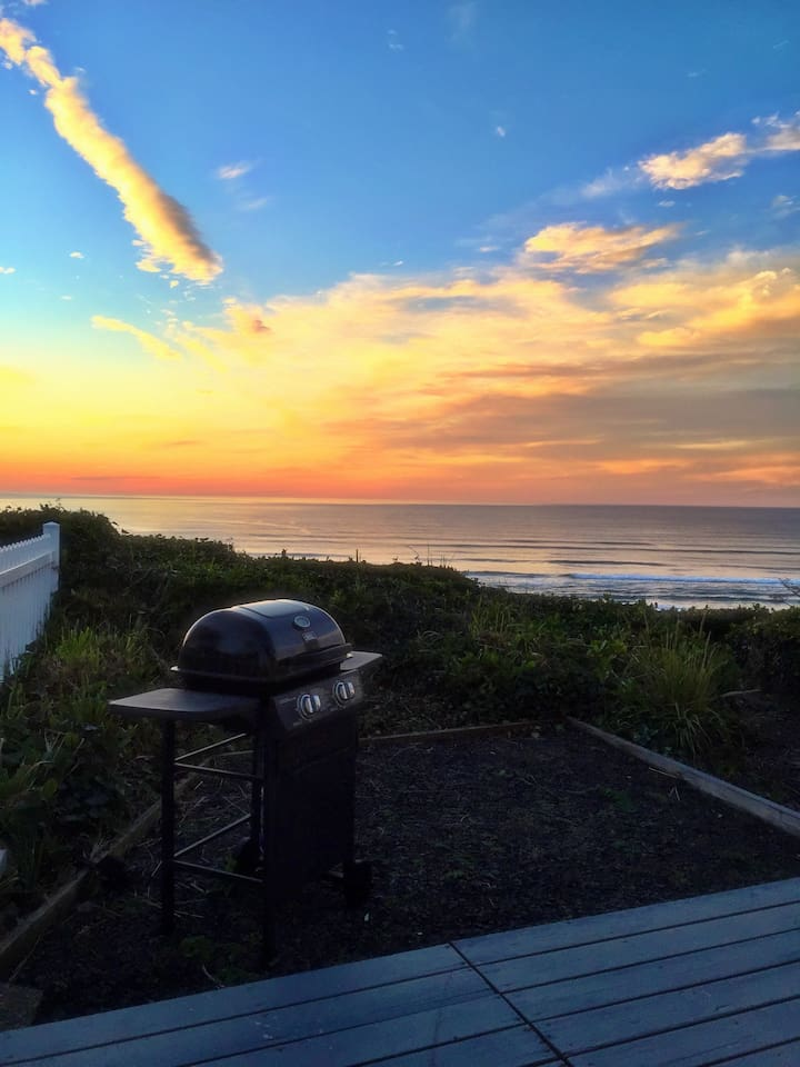 Sunset grilling on the deck.