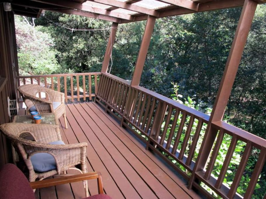 Enjoy the river view from the private cabin deck.