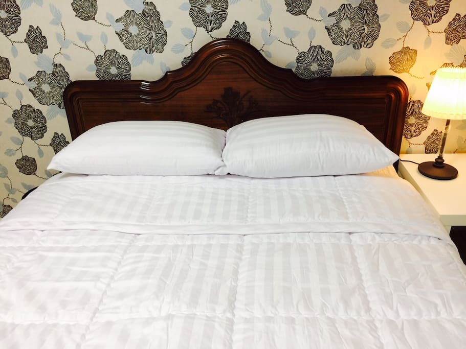 White and clean bed cover, blanket