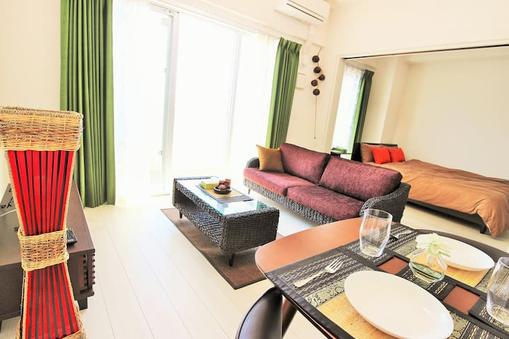 Room405☆Free WiFi! front of Araha beach! 5people☆ - Chatan, Nakagami District - Apartment