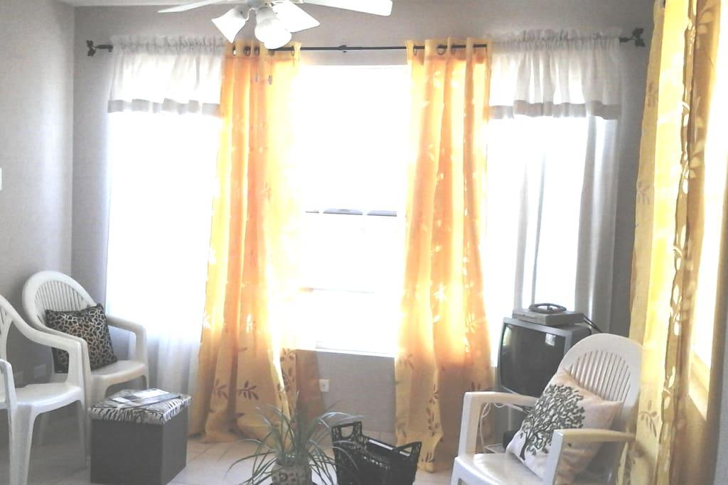 Ceiling fan in living area.